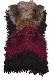 Color-block shearling and wool-blend vest