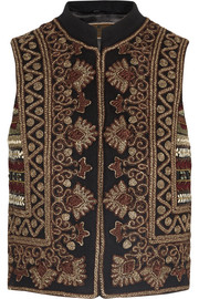 Embroidered wool-blend felt vest