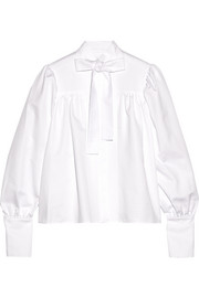 Pussy-bow cotton-drill blouse