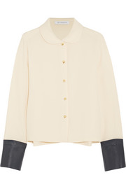 J.W.Anderson Leather-trimmed crepe shirt