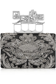 Alexander McQueen Knuckle embellished satin box clutch
