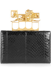 Alexander McQueen Knuckle snake box clutch