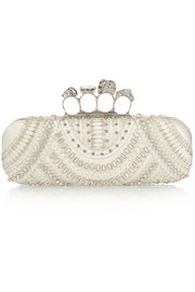 Knuckle embellished satin box clutch