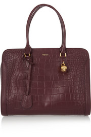 Padlock large croc-effect leather tote