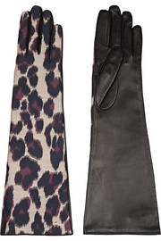Leopard-print twill and leather gloves