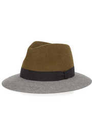 Color-block rabbit-felt fedora
