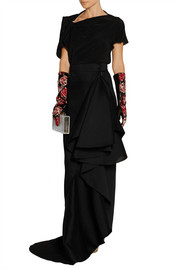 Embroidered organza and leather gloves