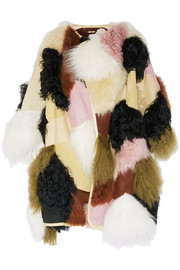 Patchwork shearling and leather coat