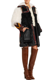 Leather-trimmed shearling and wool-blend jacquard coat