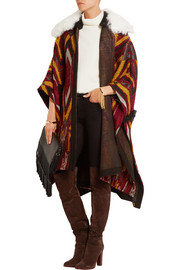 Shearling-trimmed wool-blend jacquard cape
