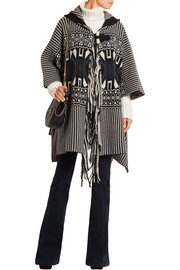 Wool and cashmere-blend jacquard cape