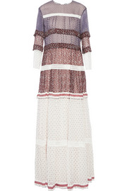 Chloé Printed crinkled silk-chiffon maxi dress