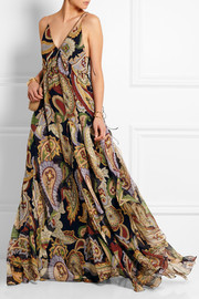 Paisley-print silk-chiffon maxi dress