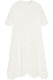 Macramé lace-paneled silk-crepe mini dress
