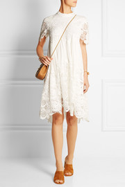 Chloé Macramé lace-paneled silk-crepe mini dress
