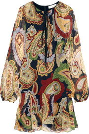Paisley-print silk-chiffon mini dress