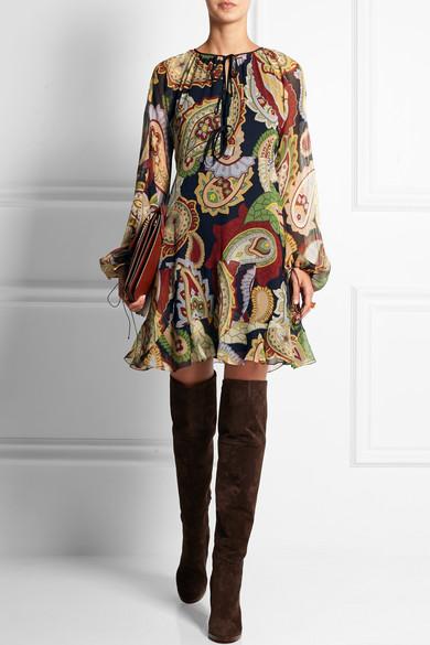 Chlo 233 Paisley Print Silk Chiffon Mini Dress Net A