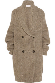 Oversized ribbed wool-blend cardigan
