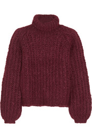 Silk, mohair and wool-blend turtleneck sweater
