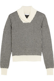 Houndstooth wool-blend sweater