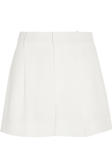 Chloé - Iconic Pleated Crepe Shorts - Off-white