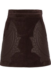 Leather-appliquéd suede mini skirt