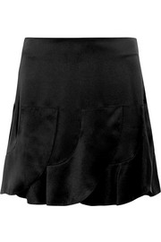 Ruffled silk-satin mini skirt