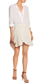 Chloé Ruffled crepe de chine mini skirt