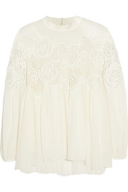 Guipure lace-paneled silk-cloqué top