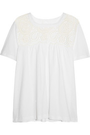 Guipure lace-paneled cotton-jersey top