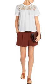 Chloé Guipure lace-paneled cotton-jersey top