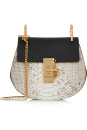 Drew mini python and leather shoulder bag