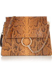 Faye python shoulder bag