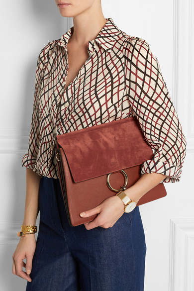 Chlo�� | Faye medium suede and leather shoulder bag | NET-A-PORTER.COM