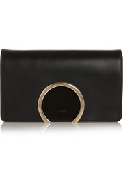 Gabrielle leather and suede clutch