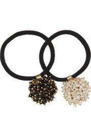 Rosantica Pom Pon set of two gold-tone, onyx and faux pearl hair ties