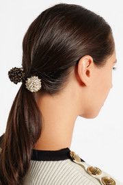 Pom Pon set of two gold-tone, onyx and faux pearl hair ties