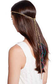 Acero gold-tone, feather and quartz headband