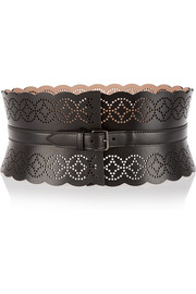Arabesque laser-cut leather waist belt