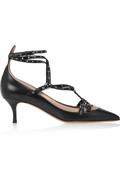 Valentino - Love Latch Eyelet-embellished Leather Pumps - Black