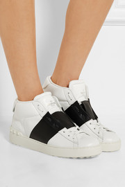 Open leather high-top sneakers