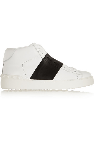 Valentino - Open Leather High-top Sneakers - White
