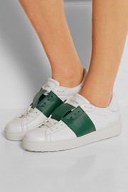 Paneled leather sneakers