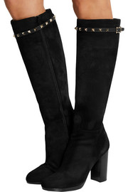 Rockstud leather-trimmed suede knee boots