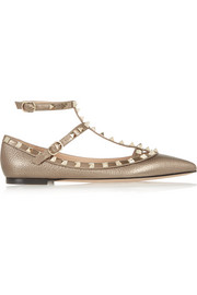 Rockstud metallic textured-leather point-toe flats