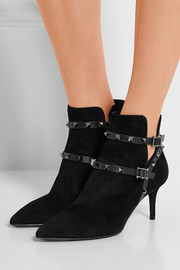 Rockstud leather-trimmed suede ankle boots