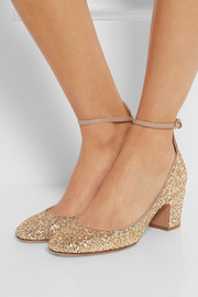 Valentino Tango glitter-finished leather pumps