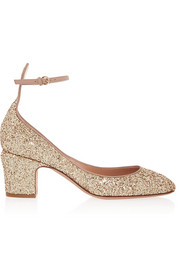 Tango glitter-finished leather pumps