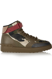 Camouflage-print leather high-top sneakers