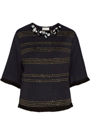 Embellished metallic woven top